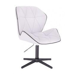 Kosmetická židle MILANO MAX na černém kříži - bílá