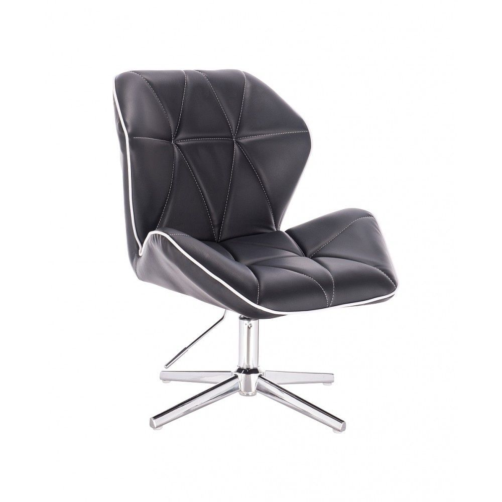 Kosmetická židle MILANO MAX na stříbrném kříži - černá