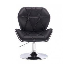 Kosmetická židle MILANO MAX na stříbrném talíři - černá