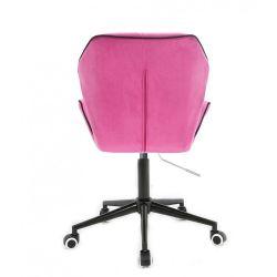 Kosmetická židle MILANO MAX VELUR na černé podstavě s kolečky - růžová