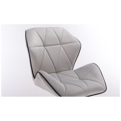 Kosmetická židle MILANO MAX VELUR na černé podstavě s kolečky - šedá