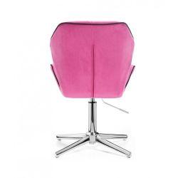 Kosmetická židle MILANO MAX VELUR na stříbrném kříži - růžová