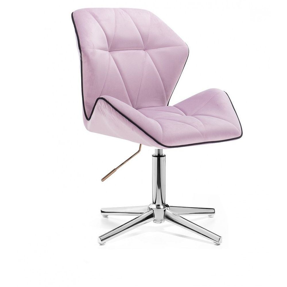 Kosmetická židle MILANO MAX VELUR na stříbrném kříži - fialový vřes