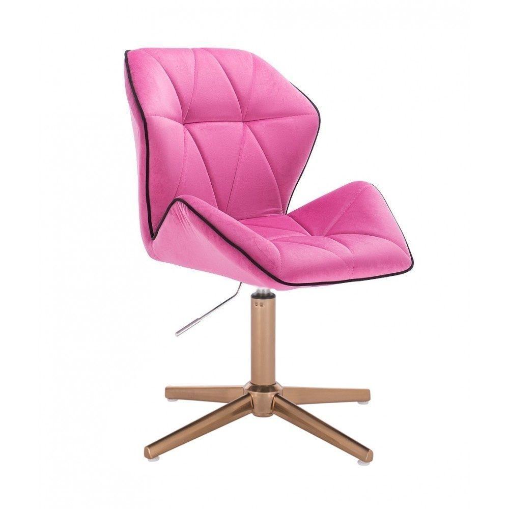 Kosmetická židle MILANO MAX VELUR na zlatém kříži - růžová