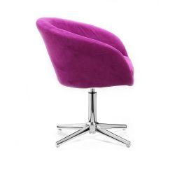 Kosmetická židle VENICE VELUR na stříbrném kříži - fuchsie