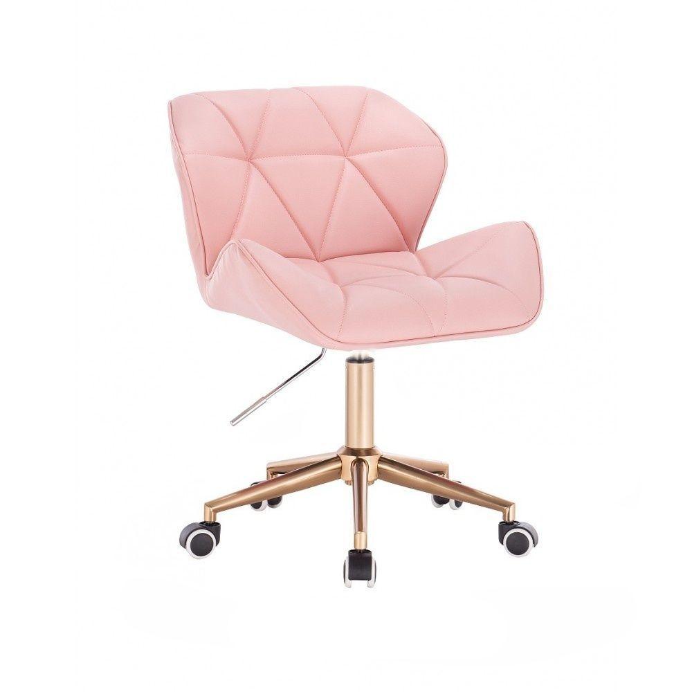 Kosmetická židle MILANO na zlaté podstavě s kolečky - růžová
