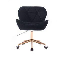 Kosmetická židle MILANO VELUR na zlaté podstavě s kolečky - černá