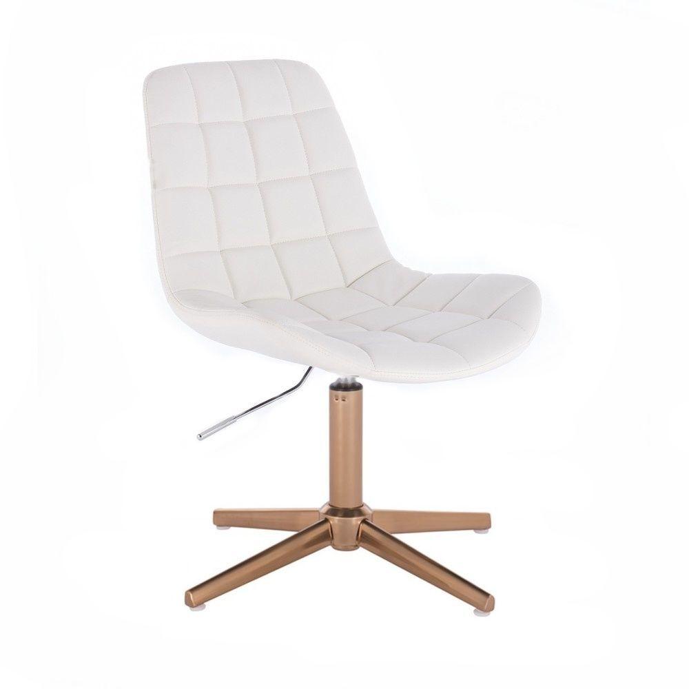 Kosmetická židle PARIS na zlatém kříži - bílá