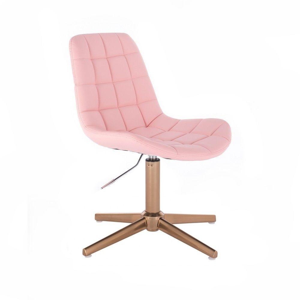 Kosmetická židle PARIS na zlatém kříži - růžová