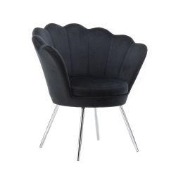 Kosmetické křeslo FREY VELUR se stříbrnými nohami - černé