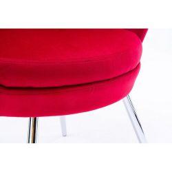 Kosmetické křeslo FREY VELUR se stříbrnými nohami - červené