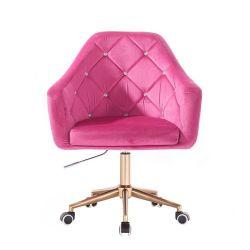Kosmetické křeslo ROMA VELUR na zlaté podstavě s kolečky - růžové