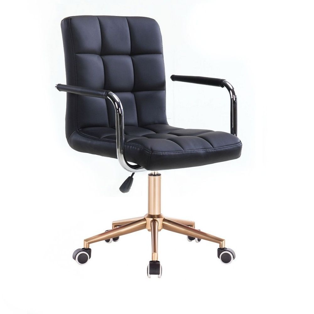 Kosmetická židle VERONA na zlaté podstavě s kolečky - černá