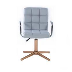 Kosmetická židle VERONA na zlatém kříži - šedá