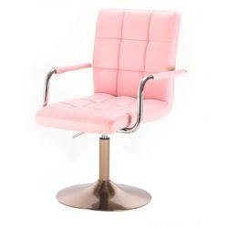 Kosmetická židle VERONA na zlatém talíři - růžová
