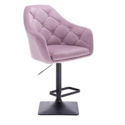 Barová židle ANDORA VELUR na černé podstavě - fialová
