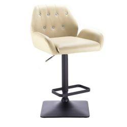 Barová židle LION na černé podstavě - krémová