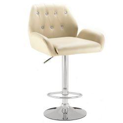 Barová židle LION na stříbrném talíři - krémová