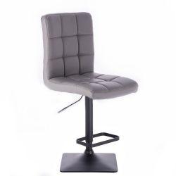 Barová židle TOLEDO na černé podstavě - šedá