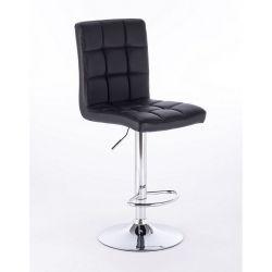 Barová židle TOLEDO na stříbrné kulaté podstavě - černá