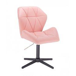 Kosmetická židle MILANO MAX na černém kříži - růžová