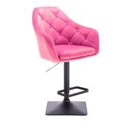 Barová židle ANDORA VELUR  na černé podstavě - růžová