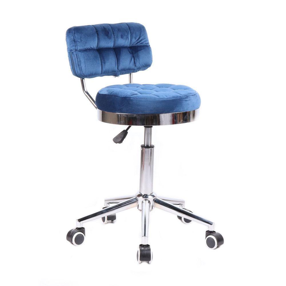 Kosmetická židle VIGO VELUR na stříbrné základně s kolečky - modrá