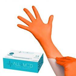 Jednorázové nitrilové rukavice oranžové - velikost L (AS)