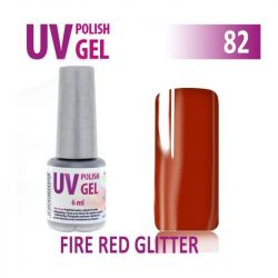 82.UV gel lak na nehty hybridní FIRE RED GLITTER 6 ml (A)