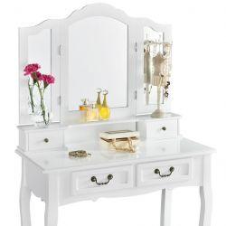 Toaletní stolek EMMA, 3 zrcadla, 4 zásuvky + taburet