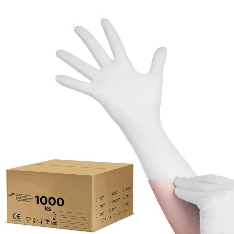 Jednorázové nitrilové rukavice bílé M - karton 10ks