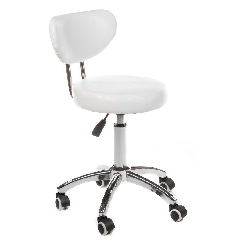 Kosmetická židle BERGAMO na podstavě s kolečky bílá