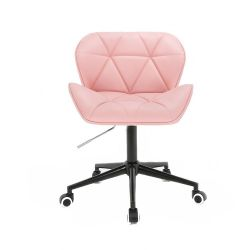 Kosmetická židle HC111K na černé podstavě s kolečky - růžová