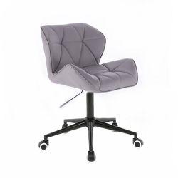 Kosmetická židle HC111K na černé podstavě s kolečky šedá