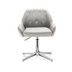 Kosmetická židle LION na stříbrném kříži - šedá