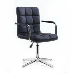 Kosmetická židle VERONA na stříbrném kříži - černá
