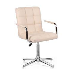 Kosmetická židle VERONA na stříbrném kříži - krémová