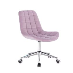 Kosmetická židle PARIS VELUR na stříbrné základně s kolečky - fialový vřes