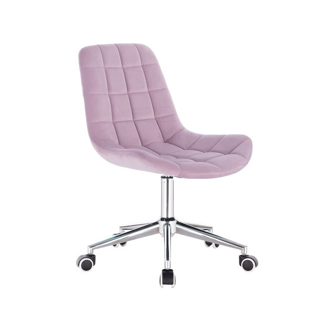 Kosmetická židle HC-590 VELUR na stříbrné základně s kolečky - fialový vřes