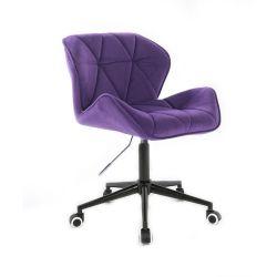 Kosmetická židle MILANO VELUR na černé podstavě s kolečky - fialová