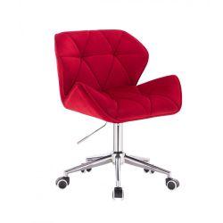 Kosmetická židle MILANO VELUR na stříbrné podstavě s kolečky - červená
