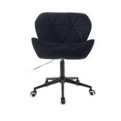 Židle HC1111 VELUR na černé podstavě s kolečky - černá