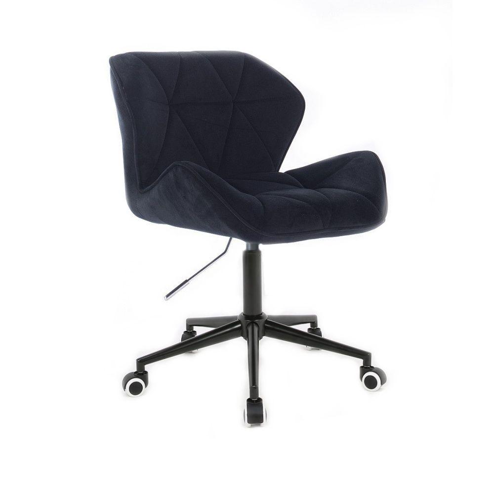 Židle HC111 VELUR na černé podstavě s kolečky - černá