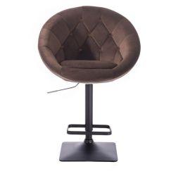 Barová židle VERA VELUR na černé podstavě - hnědá