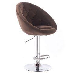 Barová židle VERA VELUR na stříbrné kulaté podstavě - hnědá
