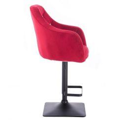Barová židle ROMA VELUR na černé podstavě - červená
