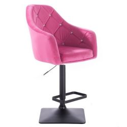 Barová židle ROMA VELUR na černé podstavě - růžová