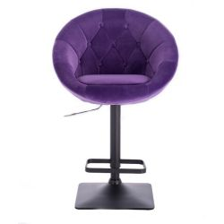 Barová židle VERA VELUR na černé podstavě - fialová