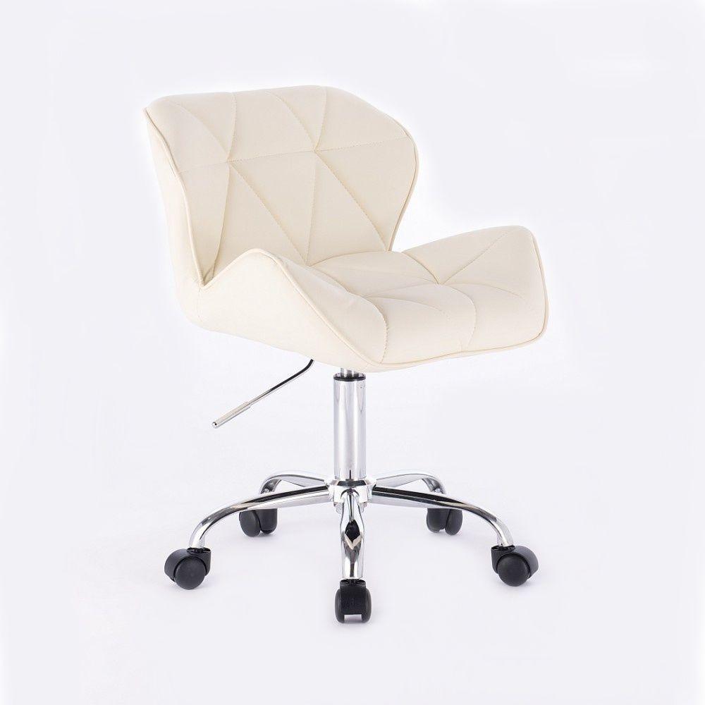 Kosmetická židle MILANO na podstavě s kolečky krémová