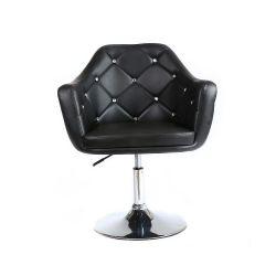 Kosmetická židle ROMA na stříbrné kulaté podstavě - černá